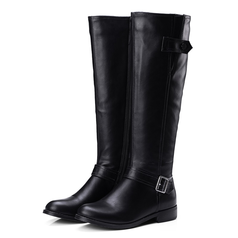 Plus koko 34-43 pu nahka kengät nainen saappaat solki zip neliön - Naisten kengät - Valokuva 2