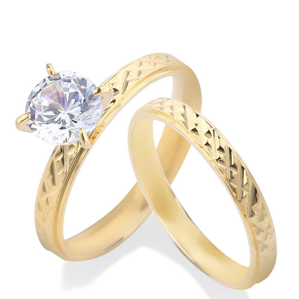 Edelstahl Ringe 3mm Liebhaber Paar Ringe Für Frauen Große 3A CZ Stein Gold Silber Frauen Hochzeit Ring Engagement nie Verblassen