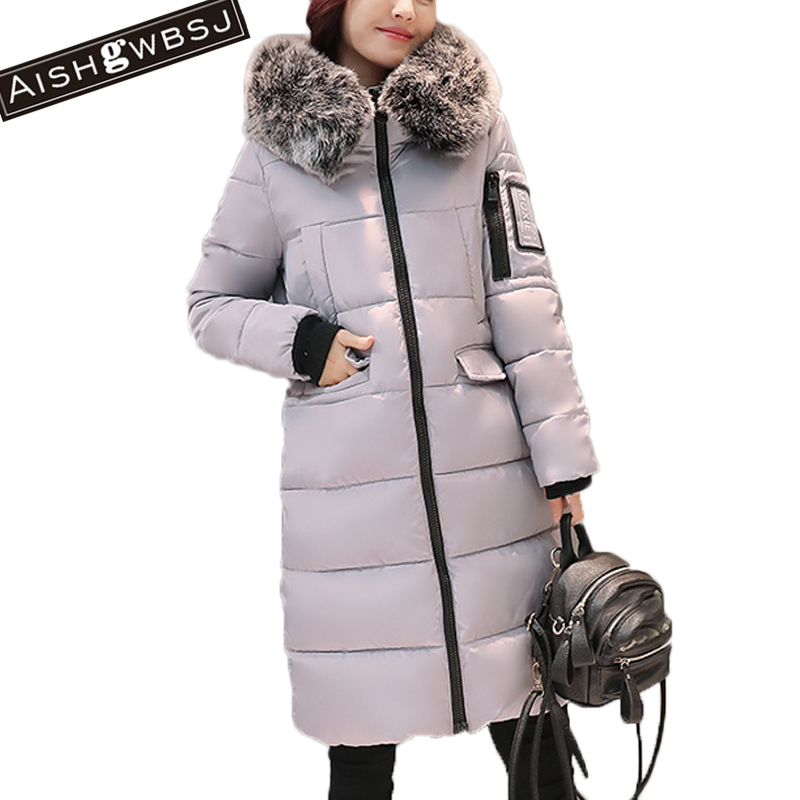 AISHGWBSJ women outwear jackets 2017 new winter long jacket cotton warm parkas female thicker hooded coats with fur collar PL028 new winter jacket coats 2017 women parkas long slim thicken warm jackets female large fur collar hooded cotton parkas cm1350
