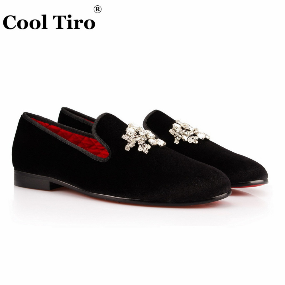 8827c1ff1ec COOL TIRO Slip-on shoes loafers Top Quality Black velvet Drill men Smoking  Fashion Diamond