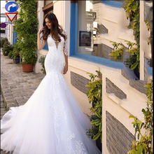 Smileven White Wedding Dress Boho Lace Mermaid Bride Dresses 3/4 Long Sleeves Elegant Illusion Back Bridal Gowns 2019