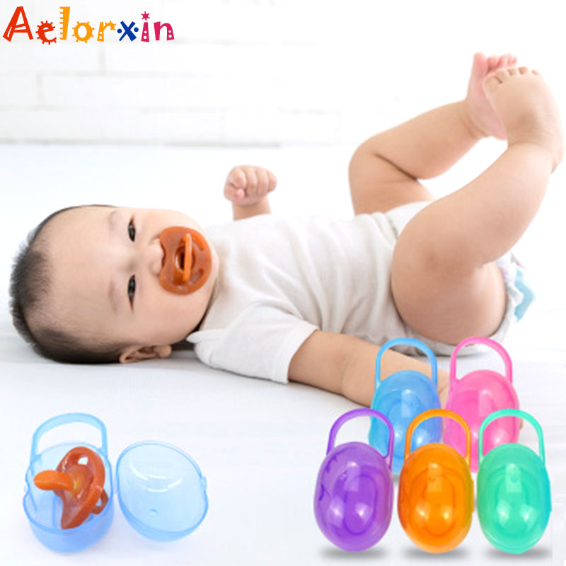 1Pcs Solid Portable Baby Infant Kids Pacifier Nipple Cradle Case Holder Travel Storage Box Soother Safe Box  Nipples Feeding Box