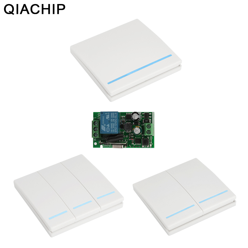 QIACHIP Universal 433MHz Wireless Remote Control Switch AC 85V 110V 220V 1CH RF 433 MHz Relay Receiver Module For Light Switches
