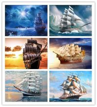 5D DIY Diamond Painting boat Scenery Cross Stitch Needlework Ship Diamond Embroidery Home Decoration Diamond Mosaic NEW Arried(China)