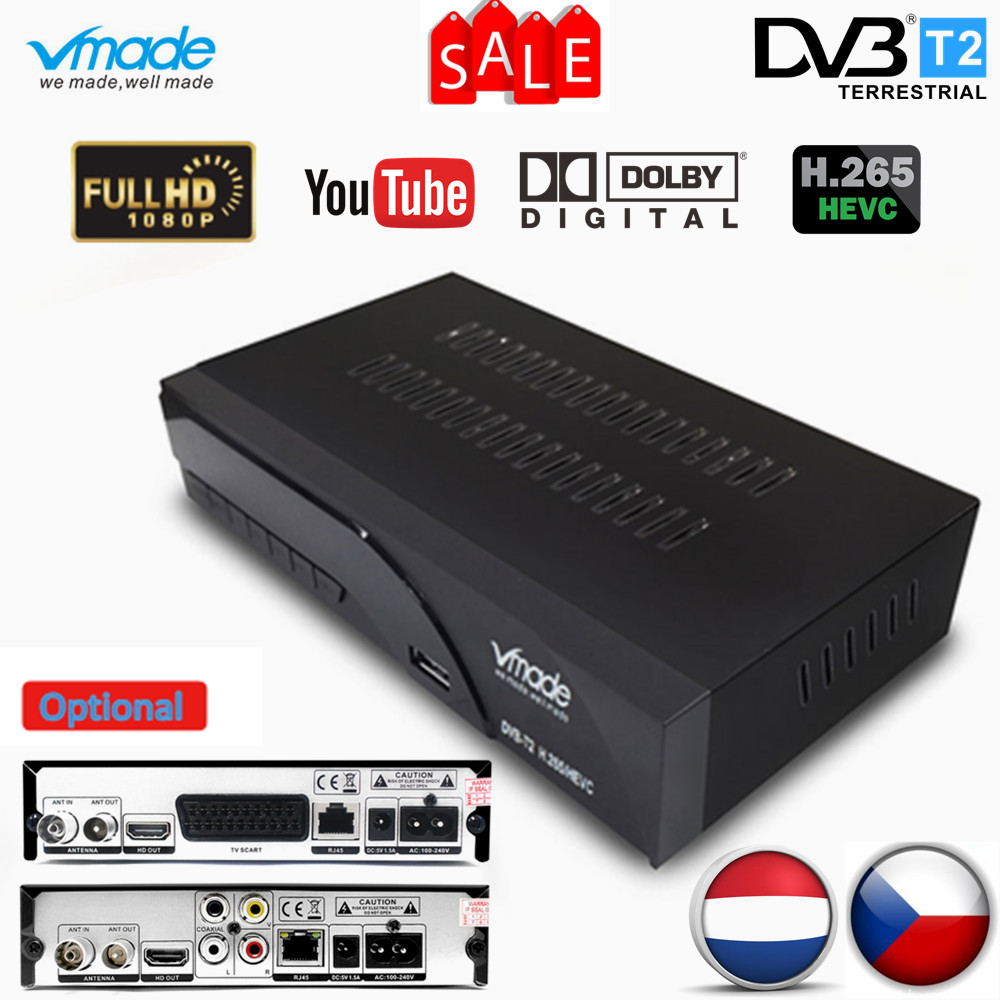 Vmade Fully HD Digital DVB T2 K6 Scart/AV Terrestrial Set Top Box Support H.265 HEVC HD 1080p Dolby AC3 DVB T2 TV Receiver Tuner