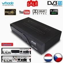 Vmade 완전 hd 디지털 dvb t2 k6 scart/av 지상파 셋톱 박스 지원 h.265 hevc hd 1080p dolby ac3 dvb t2 tv 수신기 튜너