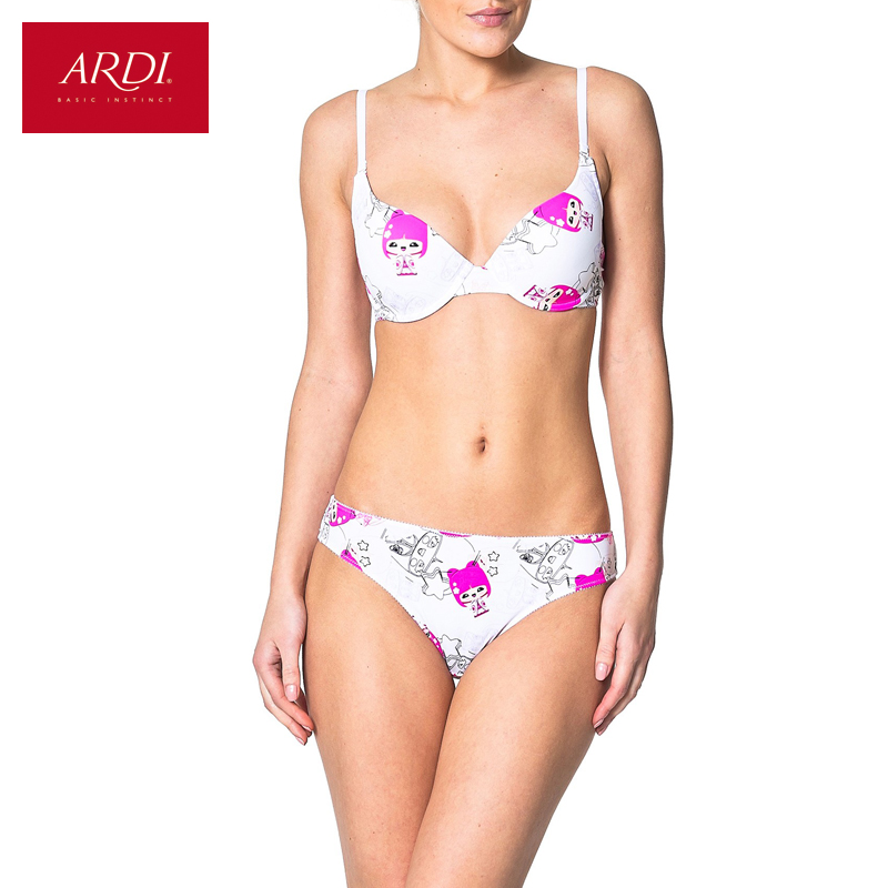 Sujetador de mujer y brifs o cadena conjunto blanco push up moda lingerie impresión 70 75 80 A B C D aRDi entrega gratuita S1170