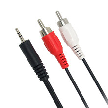 1Pcs 1.2m 3.9 ft 3.5mm Plug jack to Dual 2 RCA male Cable Stereo PC Audio Splitter Aux To 2 RCA Audio Cables(China)