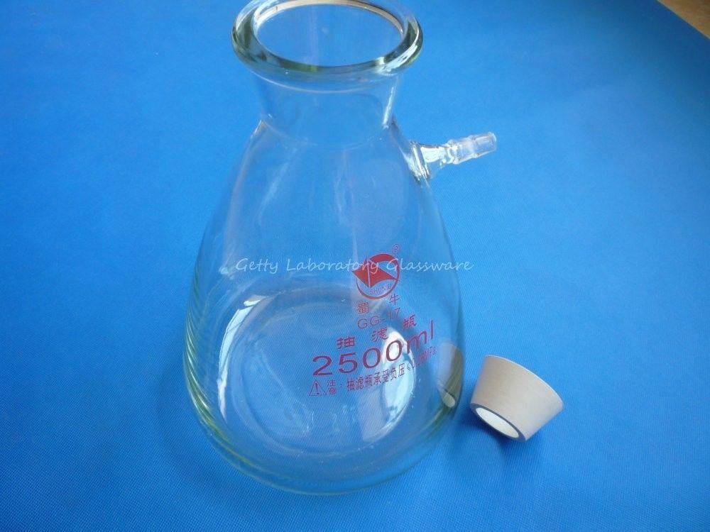 2500 ml Buchner Fiole Filtrante, à Paroi épaisse, Borosilicate Verre Matériel, avec Correspondant En Caoutchouc Adaptateur