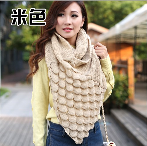 Nueva llegada de corea del estilo invierno gruesa lana de punto bufanda mujeres bufandas uvas femeninas