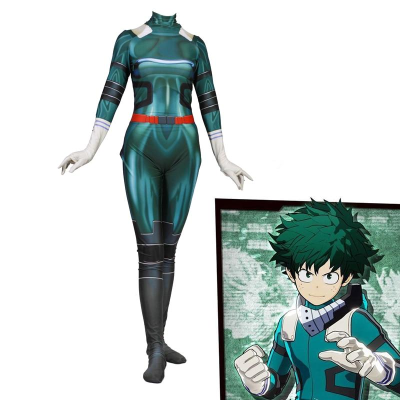 Anime 3D Women My Hero Academia Boku no Hero Academia Midoriya Izuku Cosplay Costume Zentai Bodysuit Suit Jumpsuits