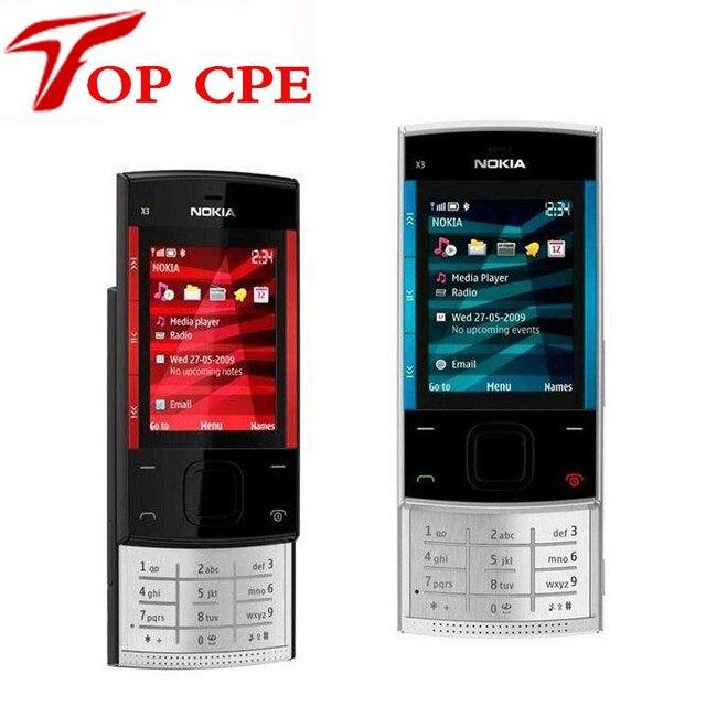 3.2MP восстановленное бесплатная доставка в Исходном Nokia X3 X3-00 Bluetooth JAVA Открыл Мобильный Телефон Оптовая На Складе Русской клавиатуры