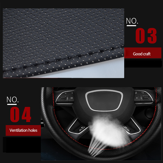 38cm DIY Car Steering Wheel Cover Leather Driving Car-covers For Audi Toyota BMW KIA Hyundai Opel Auto Accessories SEAMETAL