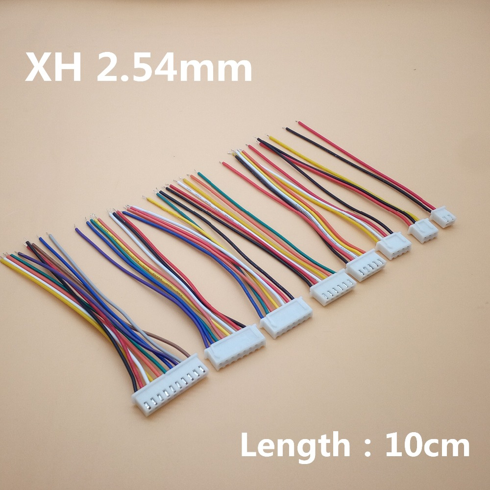 10PCS XH 2.54 JST Connector Plug Wire Cable 10cm Long 26AWG 2/3/4/5/6/7/8/9/10/12P Single End