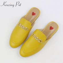 2019 genuine leather brand summer shoes slip on large size embroidery flat with slingback outside slippers metal chains mules(China)