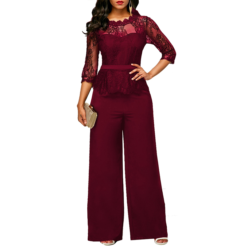 New Casual Elegant Lace Women Jumpsuits Wide Leg Long Sleeve Hollow Out Slim Work Office Rompers Macacao Feminino