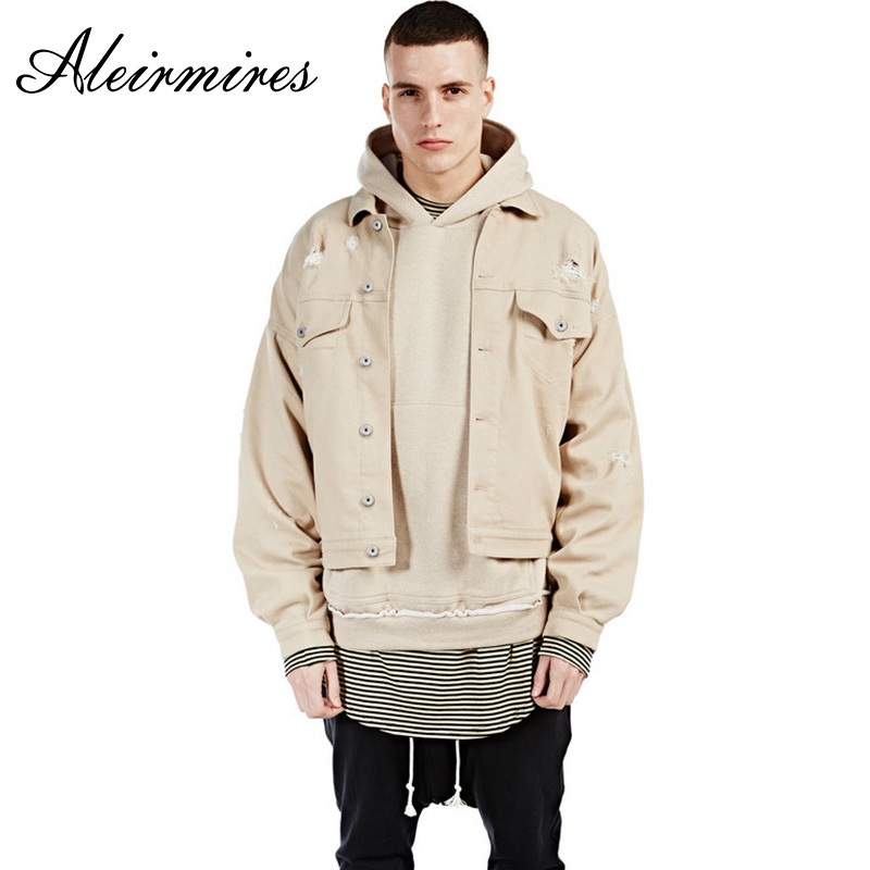 Aleirmires Men Ripped Denim Jacket High Street Casual Solid Color Fake Pockets Drop Shoulder Male Beige Jean Jacket Streetwear