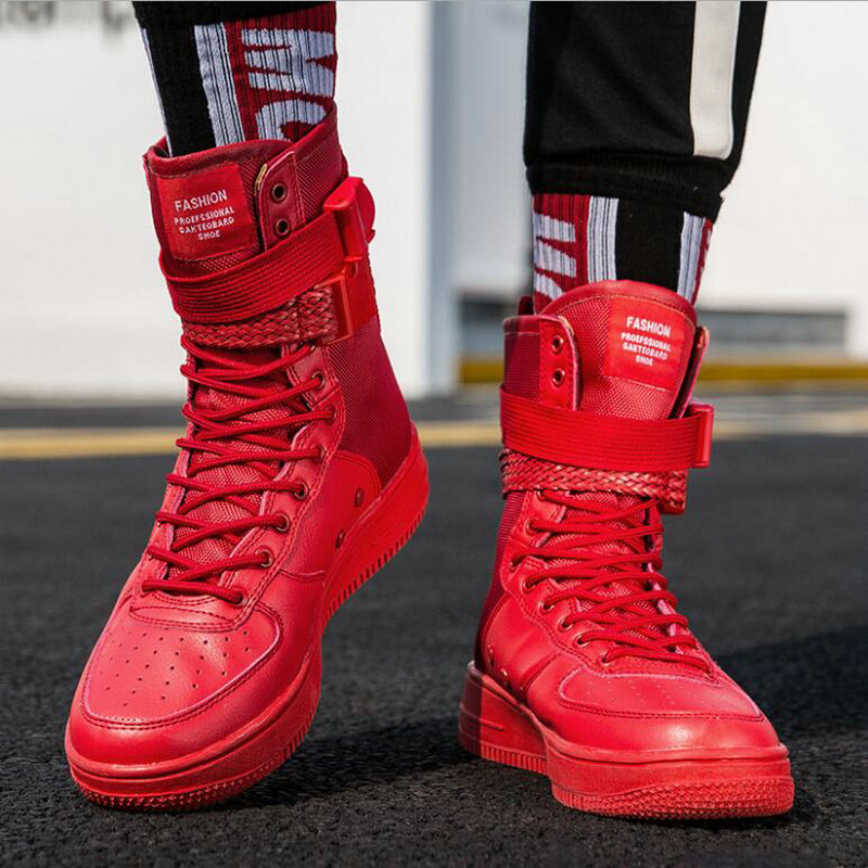 New Fashion Men Martin boots Sneakers High Top Casual Flats Shoes Male Hip-hop mid calf Boots Boys buckle shoes PP-38