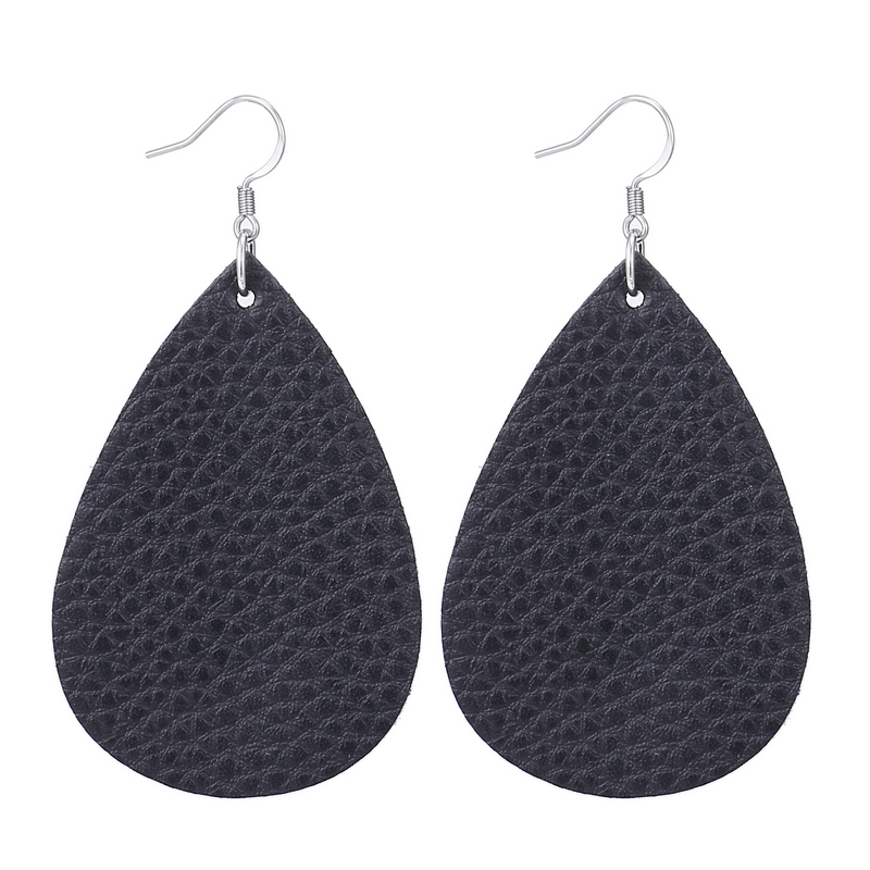 New Teardrop Leather Earrings Petal Drop Earrings Antique Lightweight S925 Carved Stainless Steel Earrings For Women Gifts 18