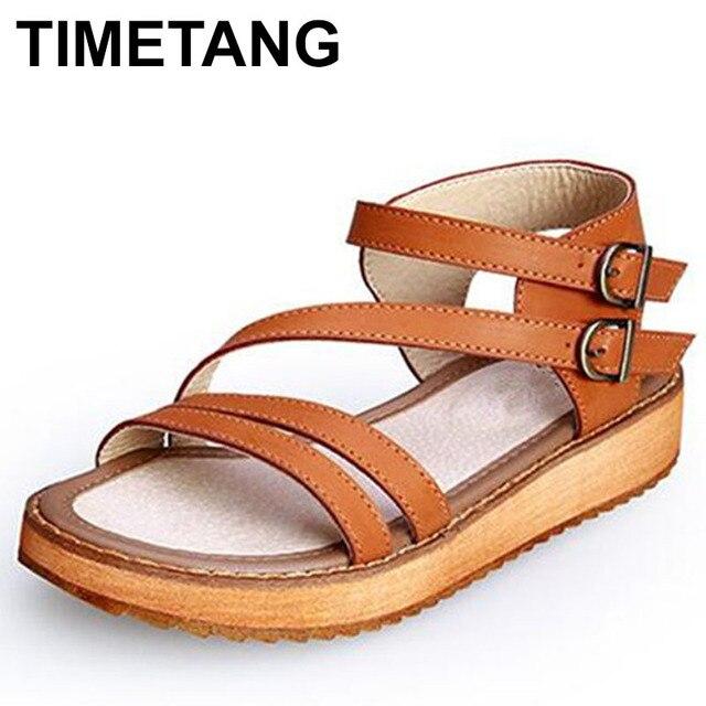 TIMETANG ผู้หญิงรองเท้าแตะรองเท้า 2018 สไตล์ฤดูร้อน Wedges แบนรองเท้าแตะแฟชั่นผู้หญิงรองเท้าแตะโรมแพลตฟอร์มของแท้หนัง