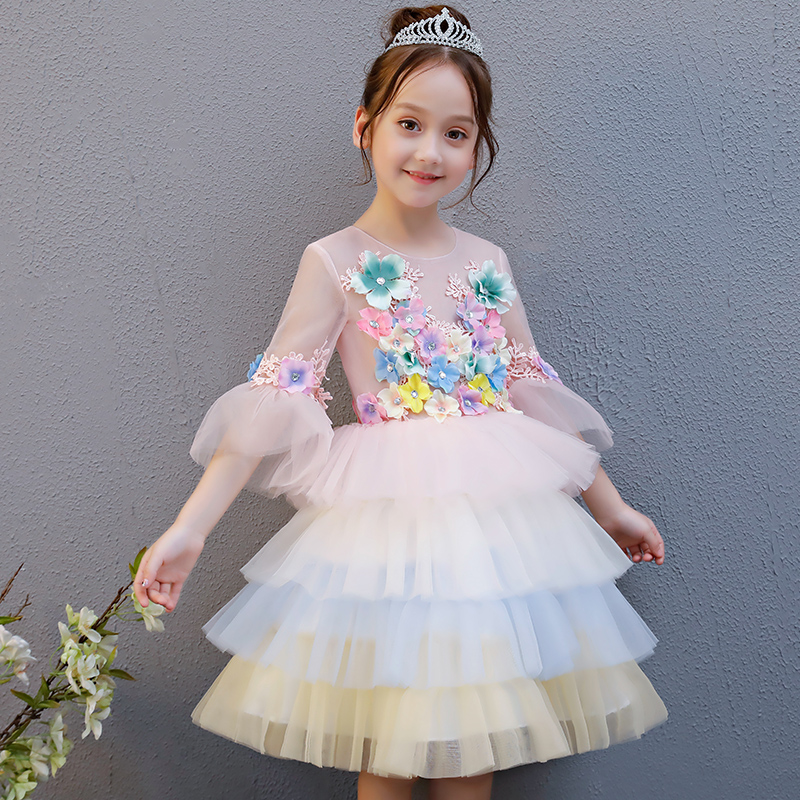Mesh Flower Princess Dress Summer Girl's Dress Flare Sleeve Lace Flower Girl Dress Appliques Ball Gown Kids Pageant Gowns AA16 retro lace panel fit and flare dress
