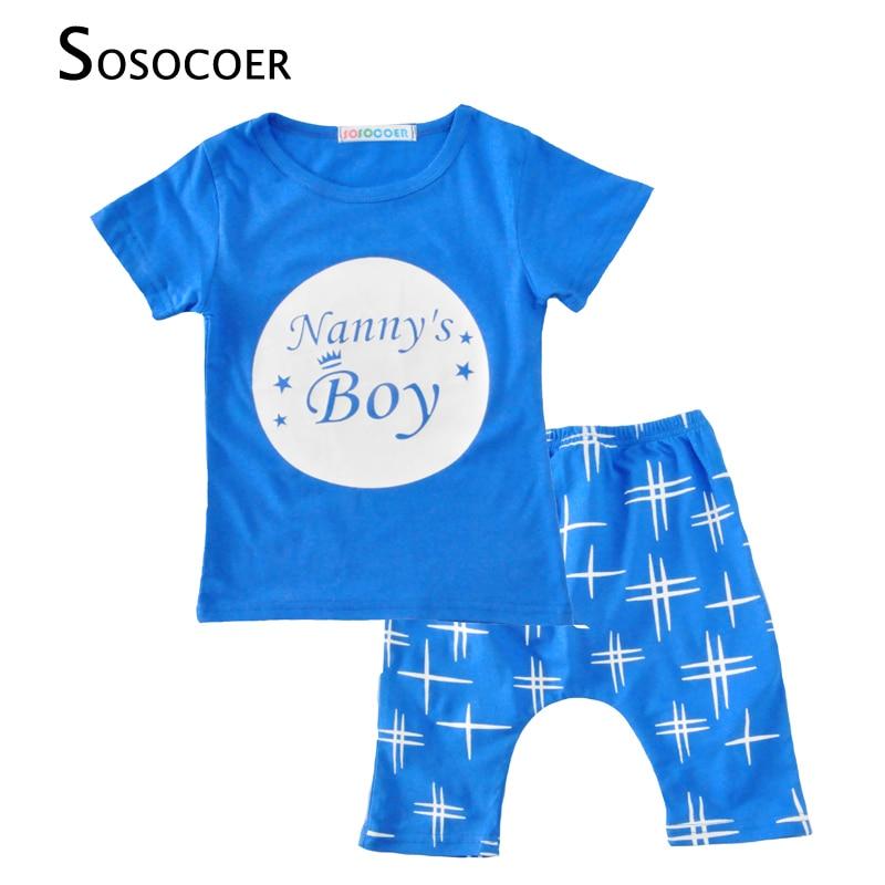SOSOCOER zēnu apģērbu komplekti Mode ar īsām piedurknēm Stars Letter T-krekli + šorti Bikses 2gab. Bērnu apģērbi 2017 vasaras bērnu meiteņu komplekts