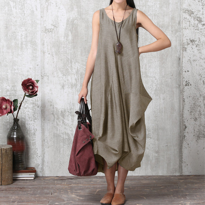 2018 ZANZEA Women O Neck Sleeveless Work Baggy Summer Dress Loose Casual Solid Party Beach Long Tank Vestido Plus Size