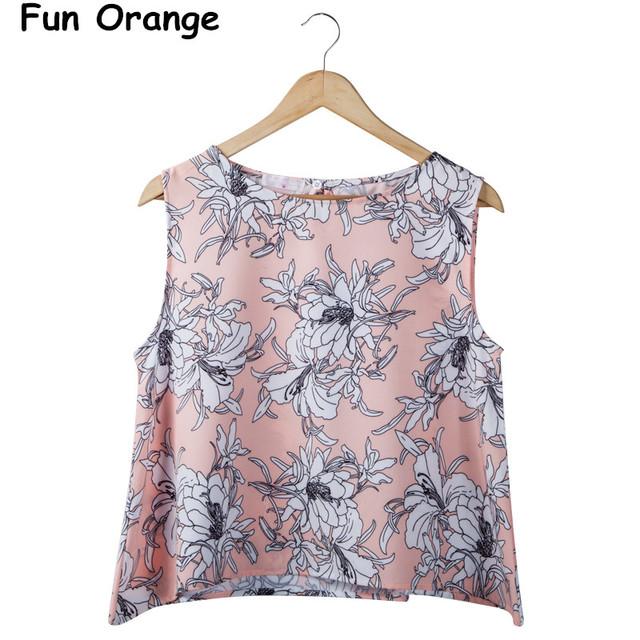 Diversión orange señoras de la manera elegante de la impresión floral del chaleco crop blusas o cuello sin mangas floja camisas casuales tops diseñador de la marca