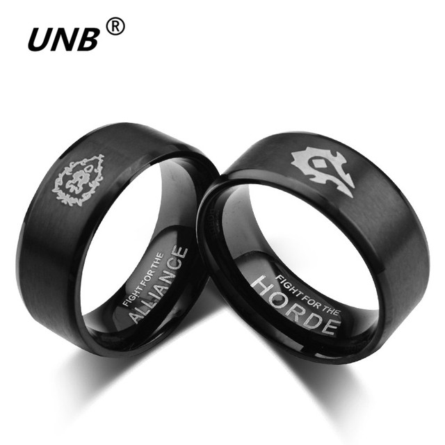 UNB Novelty Cartoon World of Warcraft Ring Gold-color Stainless Steel Lord Women