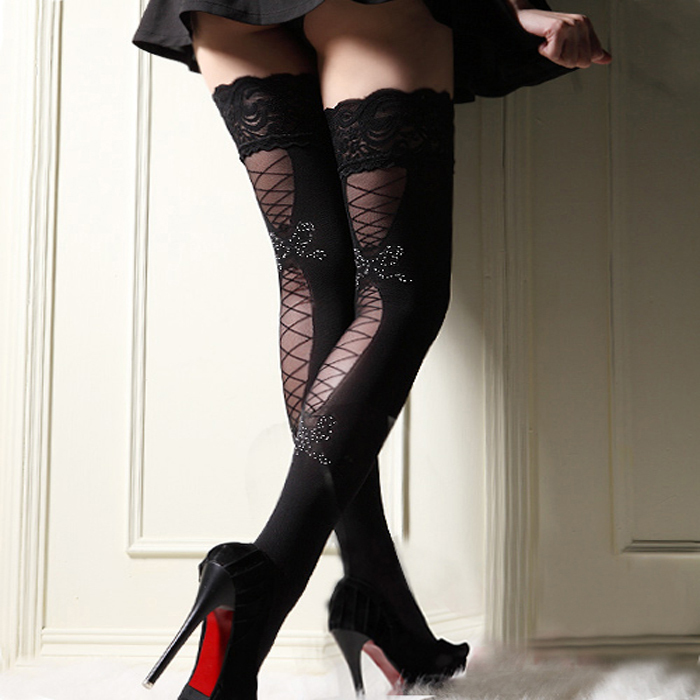 MOONIGHT Sexy Women Fashion Sexy Ultrathin Lace Top Sheer Thigh High Silk Stockings
