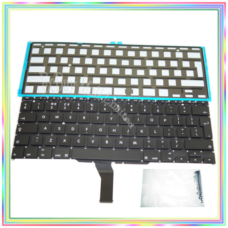 Brand new UK Keyboard with Backlight & keyboard screws for Macbook Air 11.6 A1370 A1465 2011-2015 YearsBrand new UK Keyboard with Backlight & keyboard screws for Macbook Air 11.6 A1370 A1465 2011-2015 Years