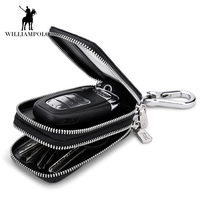 Genuine Leather Men & Women Car Key Wallets Chain Covers Zipper Key Case Bag Fashion Vintage Housekeeper Holders 2 Key Rings