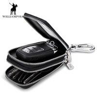 Genuine Leather Men & Women Car Key Wallets Chain Covers Zipper Key Case Bag Fashion Vintage Housekeeper Holders 2 Key Rings