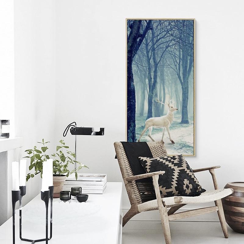Außergewöhnlich Gallery Of Schne Dekoration Wohnzimmer. 07G Märchenwald  Schnee Rehe Vertikalen Leinwand Kunst Malerei .