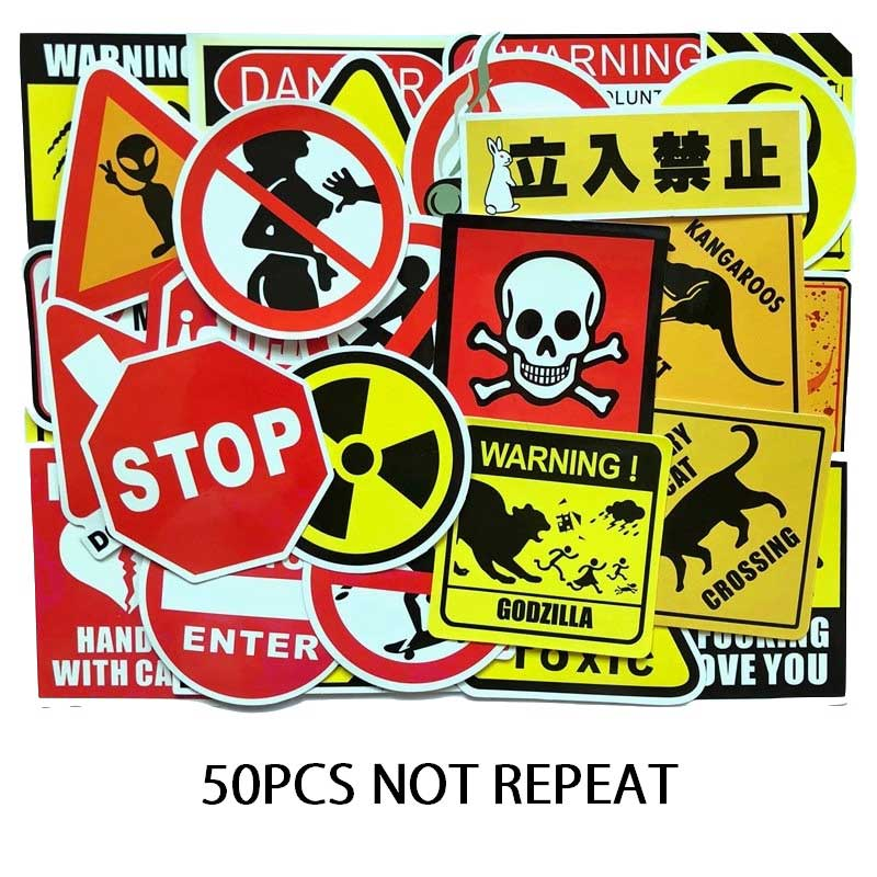 Warning sticker 50pcs danger stop god at work stop talking No Entry don't touch my laptop suitcase boxes Shantou logo stickers god is at work