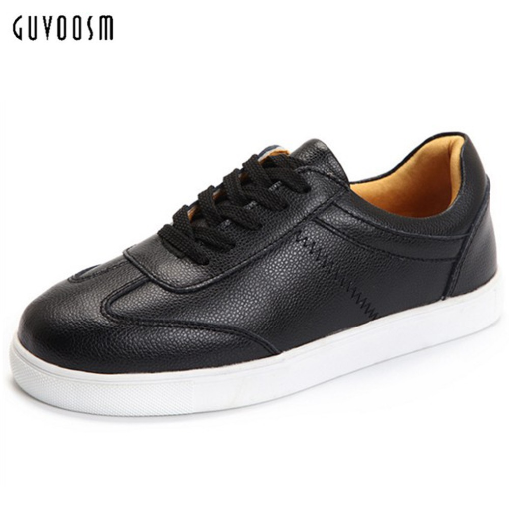 Guvoosm Cow Genuine Leather Women Zapatos Flats Female Sapato Feminino Loafers Casual Rubber Outsole Shoes Woman Big Size36-43 guvoosm ladies med heels pumps women black casual sapato feminino rubber slip on shoes woman round toe big small size 31 43