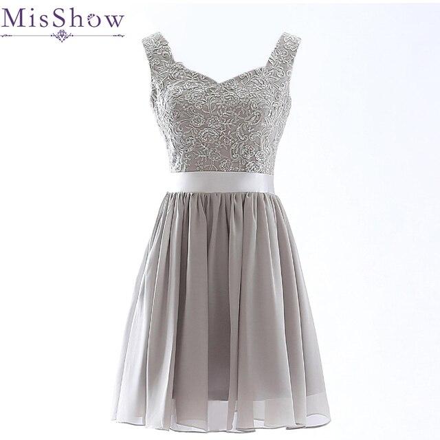 Elegant Beaded Gray Short Bridesmaid Dress 2015 Cheap Bridesmaid ...