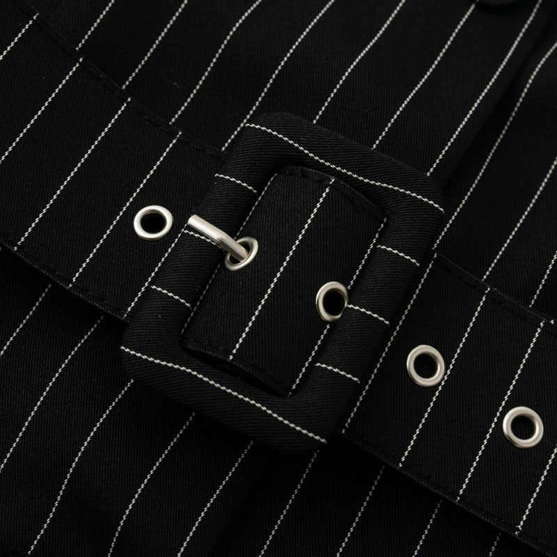 BeAvant/зимнее женское платье в полоску для офиса, 2018, короткое платье-блейзер с поясом и пуговицами, Элегантное Черное Осеннее платье с длинными рукавами для женщин