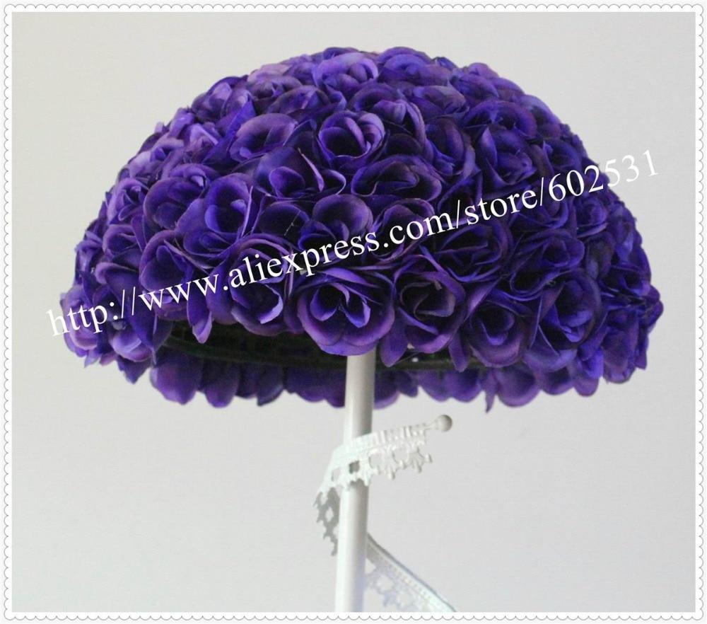 SPR 무료 배송 고품질 40CM - 4pcs / lot 인공 실크 웨딩 크리스마스 파티 DIY 장식 보라색에 대한 꽃 공을 로즈