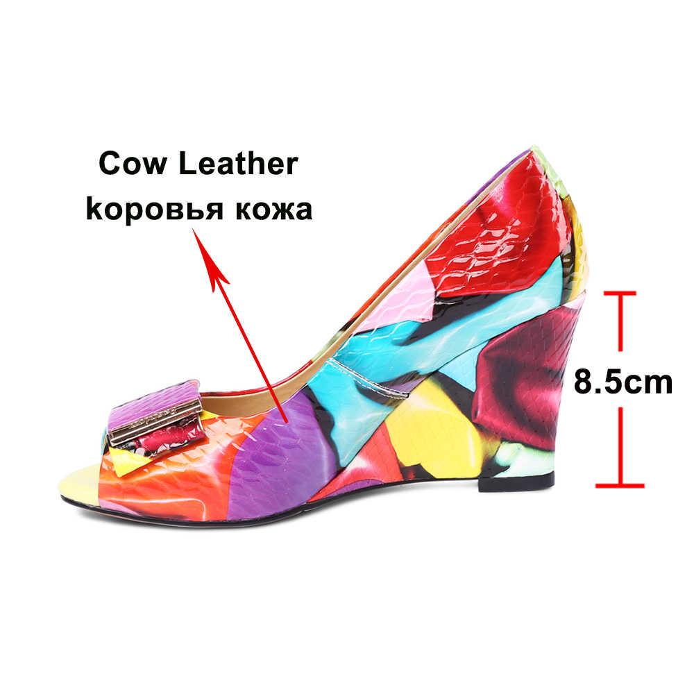 ANNYMOLI ผู้หญิงปั๊มรองเท้าส้นสูงหนังแท้ Wedge รองเท้าส้นสูงรองเท้าโบว์ผสมสี Peep Toe Party รองเท้าผู้หญิงขนาด 42