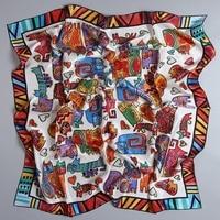 Animal Cats Pattern Large Square Silk Scarf Shawl Women 100% Satin Silk Scarfs Wraps Hijab for Hair Wrapping Foulard 88x88cm