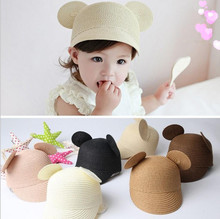 2019 New Baby Cap Solid Straw Summer Caps For Boys/Girls Sun Hat With Ears Children Hats 1pc #Y
