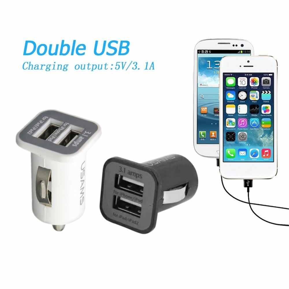 USAMS Universal 12 V Mini portátil 3.1A Dual puertos USB coche vehículos cargador para teléfonos móviles Tablet PC dispositivos