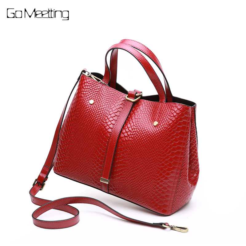 Go Meetting women handbag genuine leather tote bag ladies messenger bag Alligator shoulder cross body bags for women 2018 Purse 2017 fashion summer women shoulder bags leather high quality messenger bag boston flowers handbag cross body bags tote purse