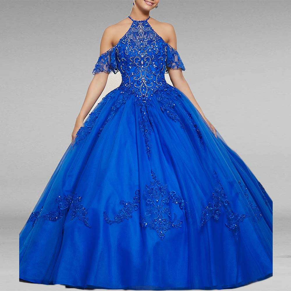 Royal Blue Ball Gown Quinceane...