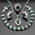 Silver Color Jewelry Sets For Women Green Imitated Emerald White CZ Earrings Bracelet Rings Necklace Pendant Free Gift Box
