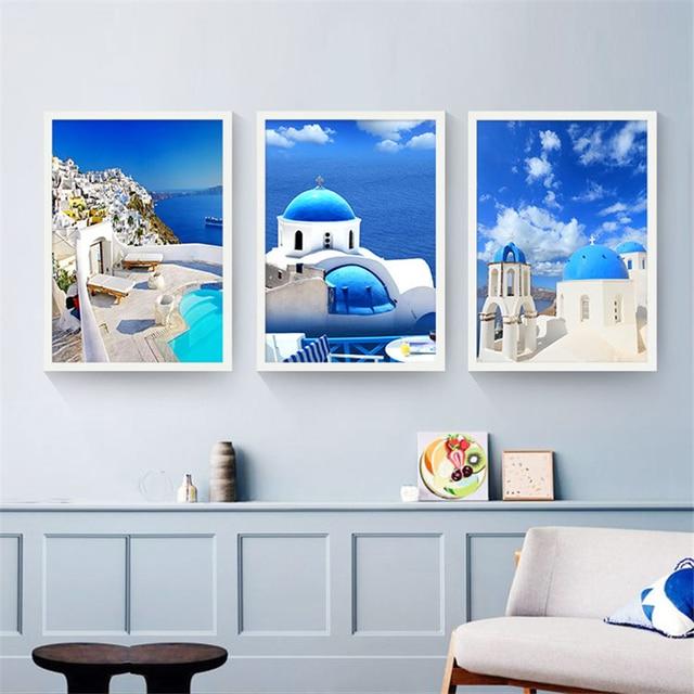 Lieblich Nordic Landschaft Liebe Meer Malerei Mediterranen Kunst Poster Schöne  Leinwand Wandbild Dekoration Für Schlafzimmer Cafe Shop