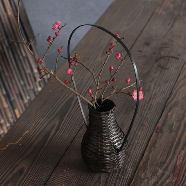 Handgefertigte Japanische Bambus Weben Blumenvase Fur Wohnkultur