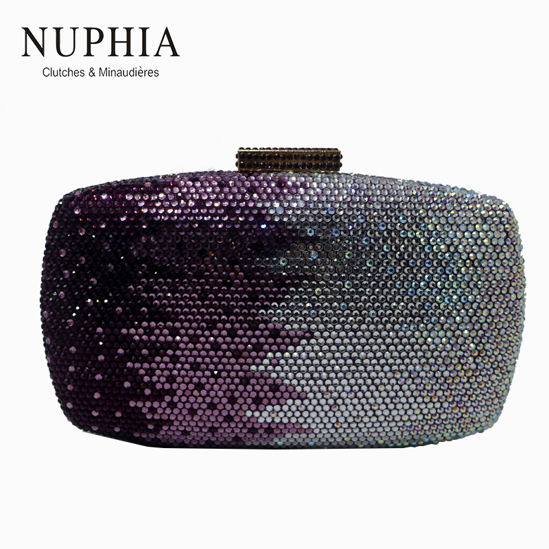 NUPHIA Purple Crystal Clutch and Evening Bags for Women Party Evening Prom Party