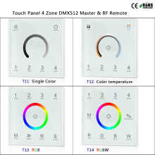 T11/T12/T13/T14 Touch Panel 4 Zone RGB DMX512 Master & RF Remote for single color/color temperature/RGB/RGBW led strip
